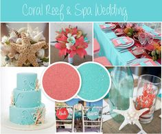 Perfect beach wedding colors - coral reef and spa. Compare to David's Bridal!