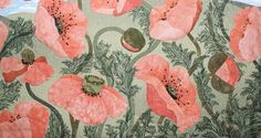 """""""We Will Remember Them"""" quilt at Robian Applique Designs (Australia). Close up, appliqued poppies, ANZAC remembrance"""