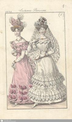 3 - (1.) Costumes Parisiens. - Petit courrier des dames - Seite - Digitale Sammlungen - Digitale Sammlungen