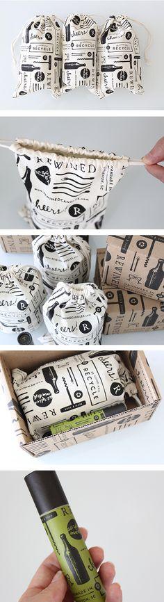 Rewined packaging by Stitch. Not only do I love the design but the product could definitely be potential xmas presents!