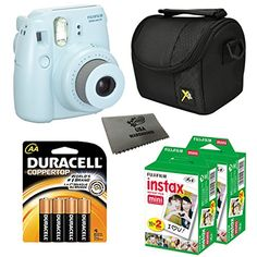 Fujifilm Instax Mini 8 Instant Film Camera 5in1 Set  2 Packs Fuji Film Instant Film Twin Pack Total 40 Sheets  Compact Camera Case  Pack of AA Batteries  Lens Cleaner Cloth Bundle Blue ** ** AMAZON BEST BUY **