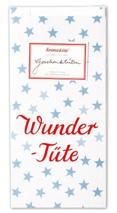 Diese Papiertüten sind ideal um kleine Geschenke für die Gäste auf einer Kinderparty oder einem Kindergeburtstag darin zu verpacken. Die Krima & Isa Geschenktüten Wundertüte blau gibt es bei www.party-princess.de