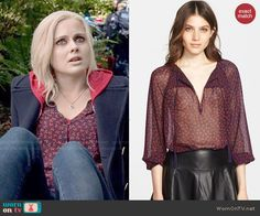 Liv's navy and red printed blouse on iZombie. Outfit Details: http://wornontv.net/47969/ #iZombie