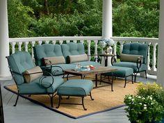 Outdoor Patio Set Sofa Arm Chair Ottoman coffee Table Lumbar Pillow Lounge Teal
