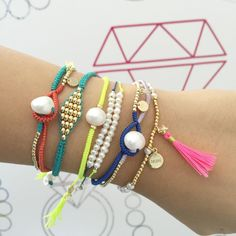 #ArmParty #ArmCandy #Neon #tassel #PearlLover #Pearl #SterlingSilver #GoldPlated #MacrameLover