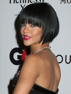Rihanna black hairstyle with bangs