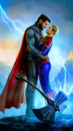 Captain Marvel & Thor, Avengers: End of Game - .-Captain Marvel & Thor, Avengers: Spielende – Captain Marvel & Thor, Avengers: End of Game – - Captain Marvel, Marvel Avengers, Marvel Comics, Films Marvel, Marvel Fan, Marvel Characters, Marvel Heroes, Marvel Cinematic, Avengers Quiz