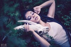 Glamour forest woods sexy girl with ram skull head photography / Photoshoot ideas.
