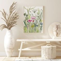 Flower poster print of wildflowers, Garden wall art, Garden lover gift, Wildflower prints, botanical print, Abstract painting, flower art
