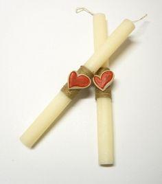 Πασχαλινές λαμπάδες καρδιές PL025