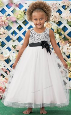 6a47ebc8d6a5 2015 Free Shipping Hot Sale White Flower Girl Dress Lace Ball Gown Ankle  length Girls Pageant Dresses With Black Flowers FW69-in Flower Girl Dresses  from ...