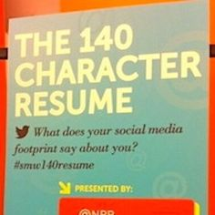 You know how hard it is to distill your experiences and accomplishments into a meaningful one-page resume. So what if we told you to cram them all into one tweet?    That's exactly what we did on Wednesday night at our live-tweet virtual career fair (#smw140resume)! While we c