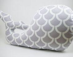 Whale Pillow, Modern Nautical Nursery Decor, gray nursery