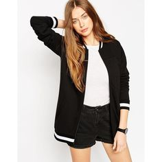 ASOS Longline Bomber With Stripe Ribs ($45) ❤ liked on Polyvore featuring tops, black, black stripe top, black zipper top, longline top, zipper top and zip top