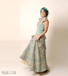 Recycled Eco Wedding Gown with swallowtail lace-up - light blue repurposed linen - Ice Queen