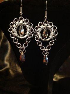 Handmade Silver Drop Briolette Chain Maille by FreyaChainWorx