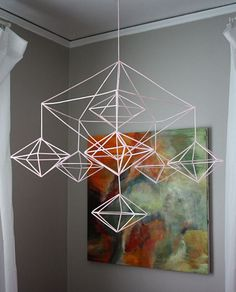 DIY Make Your Own Decahedron geometric Himmeli Mobile with straws.