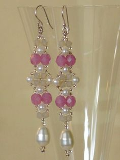 Beadwoven Beadwork Earrings - Pink with Pearls Beaded Beadweaving Jewelry- Seed Beads