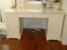 IKEA LIATORP Desk in White With Upgraded Hardware & Custom Glass Top