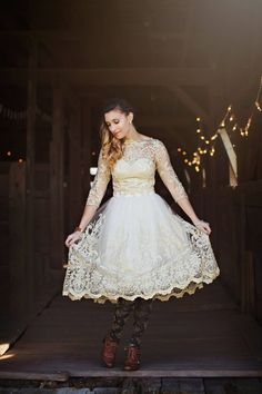 Gilded Grace Dress in Champagne #elegant #lace