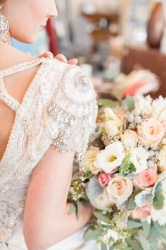 Beaded gown and beautiful bouquet: http://www.stylemepretty.com/canada-weddings/2015/04/30/romantic-blush-lace-wedding-inspiration/ | Photography: Haley Photography - www.haleyphotography.ca