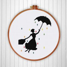 Cross Stitch Design Mary Poppins cross stitch pattern pop culture modern nursery design - Mary Poppins cross stitch pattern or cross stitch kit is very easy and quick to stitch. This silhouette design is perfect for your baby room. Cross Stitching, Cross Stitch Embroidery, Embroidery Patterns, Loom Patterns, Modern Cross Stitch Patterns, Cross Stitch Designs, Disney Cross Stitch Patterns, 8bit Art, Creation Couture