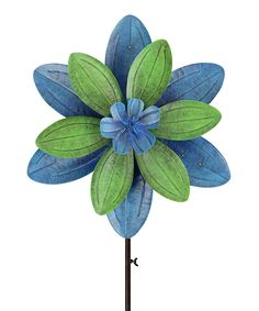 Another great find on #zulily! Blue & Green Flower Solar Kinetic Garden Stake by Red Carpet Studios #zulilyfinds
