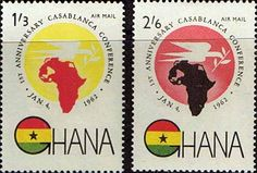 Ghana 1962 Casablanca Conference Air Mail Set    Fine Mint    SG 278 9 Scott C5 6    Condition  Fine MNHOnly one post charge applied on multipul