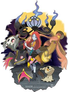 Happy Halloween Heres my artwork for Sally from the Nightmare Before Christmas with a selection of Ghost type Pokemon for her. The Nightmare Before Christmas Sally Nightmare Before Christmas, Christmas Pokemon, Jack Skellington Costume, Ghost Type Pokemon, Digimon Adventure Tri, Dark And Twisted, Twisted Disney, Disney Crossovers, Cute Characters