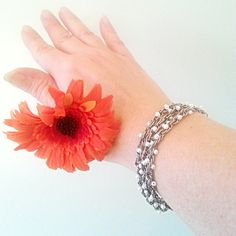 Beaded silver chain bracelet or necklace white by WalinaWebshop