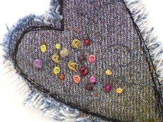 Mixed Media Brooch Heart Jewelry Recycled Denim by PolkadotPossum