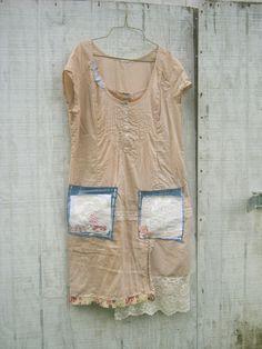 "romantic Funky  Eco Tattered ""Wearable Art"" Mini Dress"