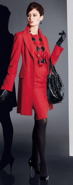 ~Hot~super chic outfit - classy red dress and coat with sexy black stockings and heels! Mode Chic, Mode Style, Style Me, Red Fashion, High Fashion, Womens Fashion, Fashion Models, Office Fashion, Work Fashion