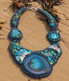 DRAGONFLY BILLABONG Beaded Bib Collar Necklace by TheSageWreath, $975.00