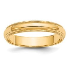4MM Half Round With Milgrain Edge Wedding Band In 14K Yellow Gold Gemologica.com offers a large selection of 10K and 14K yellow gold bands, and 10K and 14K white gold bands for men and women. We have styles including comfort fit, half round edges, flat edges, flat comfort fit, flat step down edge, half round with milgrain, and beveled edge. Our complete collection of gold wedding rings: www.gemologica.com/mens-gold-wedding-bands-c-28_46_316_320.html