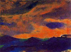 foncé mer avec brun ciel de Emile Nolde (1867-1956, Germany)
