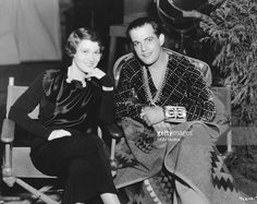 Actors Ramon Novarro (1899 - 1968) and Fay Bainter (1893 - 1968) at MGM Studios In Hollywood, California, 1934. They are filming 'Laughing Boy' and 'This Side Of Heaven', respectively.