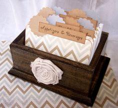 Recipe Box, Dividers and Cards - Gray and Tan Chevron, Zig Zag, Dark Charcaol Gray Box on Etsy, $48.00
