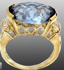 Stylish Signature 9 ctw Blue Mystic Checkerboard Cut & White Topaz Accent Ring~14KT YG/925 SS~Sz. 9!