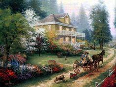 thomas kincade | Thomas Kinkade Paintings - Thomas Kinkade Sunday at Apple Hill ...