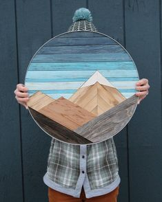 Circular Mountain Panel - Circular Mountain Panel This reclaimed wooden mountain panel is trimmed in aluminum! Wood Wall Art Decor, Diy Wood Wall, Reclaimed Wood Wall Art, Mural Wall Art, Wooden Wall Art, Diy Wall Art, Barn Wood, Wood Walls, Salvaged Wood