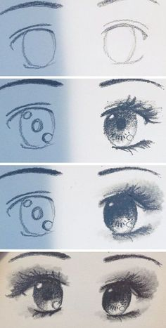 Drawing Faces Tips Anime Eyes Drawing Tutorial! — Steemit - Using Pencil I drew this pair of eyes. I love the anime art style, And it's actually quite easy to pull off. I love… by kaylinart Cute Eyes Drawing, Realistic Face Drawing, Body Drawing, Cool Drawings, Anime Eyes Drawing, Eye Drawings, Eye Drawing Tutorials, Drawing Techniques, Anime Lips
