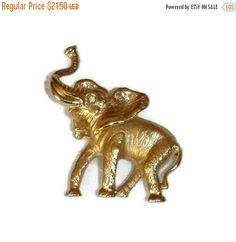 SALE Gold Elephant Brooch NAPIER Vintage by PopcornVintageByTann