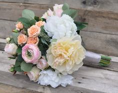 Wedding Bouquet, Coral and Peach and Pink Bouquet, Loose Bouquet, Wedding Bouquet, Rose Bouquet, Keepsake Bouquet.