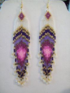 Handmade Native American beaded rings | Native American Beaded Peacock Eye Pinks and Purples Earrings 5 1/2 in ...