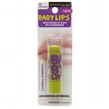 Baby Lips Peppermint (original collection)   Review  Smells minty and feels great on lips. Also a clear baby lips so there is no color. SPF of 20.