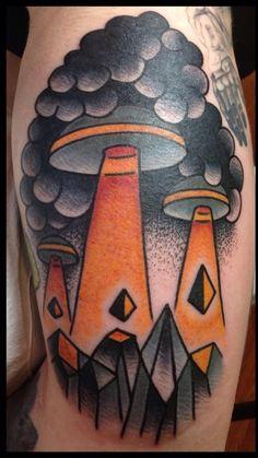 Ufo Tattoo Colored alien tattoo on leg