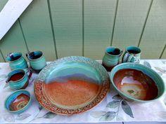 Sharon Galbraith. Textured Turquoise and Albany Slip Brown