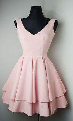 A line Blush Pink Homecoming Dress,Short V-neckline Blush Prom Dress, V-neckline Blush Pink Party Dress
