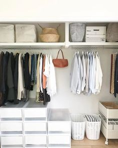Here are some of the most functional and beautiful walk-in closet ideas to help you create an impeccable, organized dressing area. Dressing Room Closet, Wardrobe Closet, Closet Bedroom, Walk In Closet, Open Wardrobe, Dressing Area, Dressing Rooms, Closet Space, Muji Storage